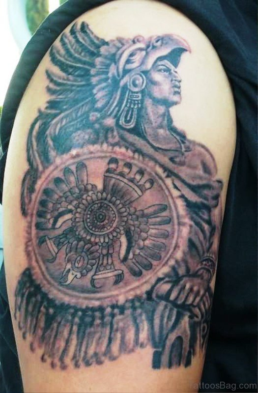 Aztec Warrior Shoulder Tattoo