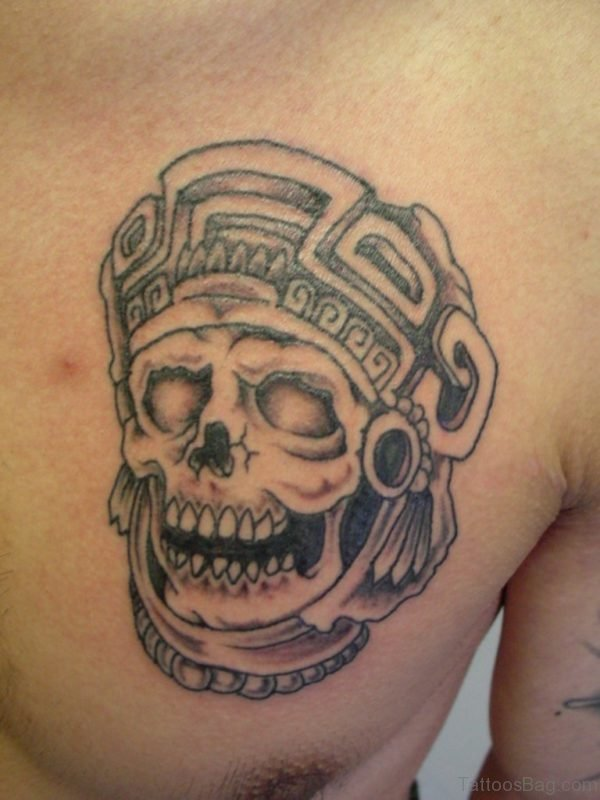 Aztec Warrior Tattoo On Chest