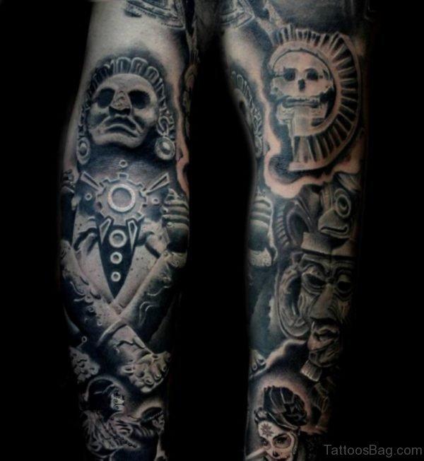 Aztez Tattoo On Full Sleeve