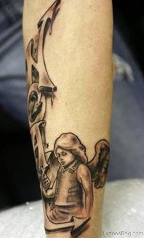 Babay Angel Tattoo Design On Leg