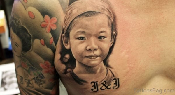 Baby Girl Portrait Tattoo