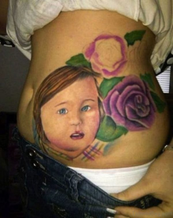 Baby Girl Tattoo With Flowers On Rib Sid
