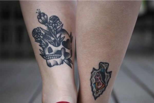 Back Ankle Skull Tattoo