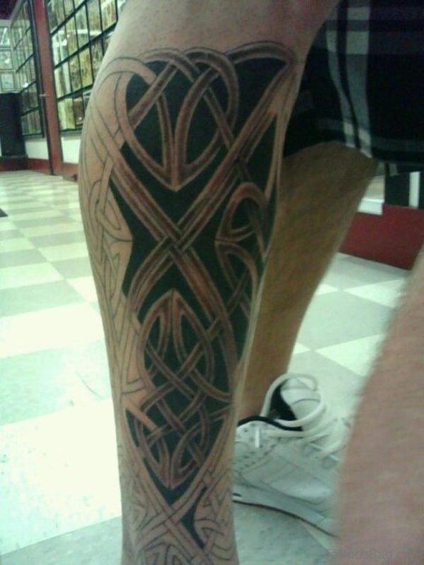 Back Leg Celtic Tattoo Design