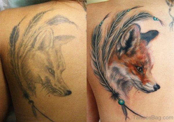 Back Shoulder Fox Head Tattoo