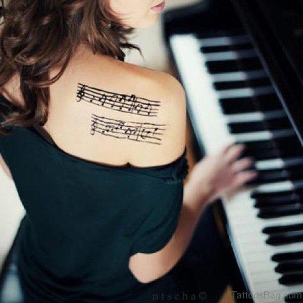 Back Shoulder Music Tattoo