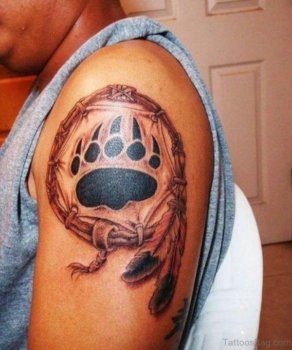 Balck Paw And Dreamcatcher Tattoo
