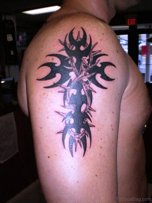 Black Tribal Cross Tattoo
