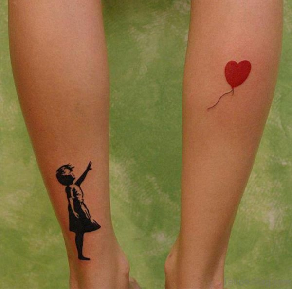Ballon Heart Tattoo