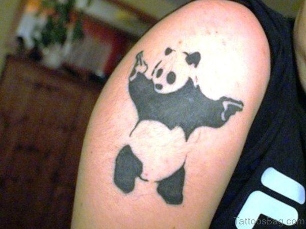 Banksy Panda With Guns Tattoo On Shoulder