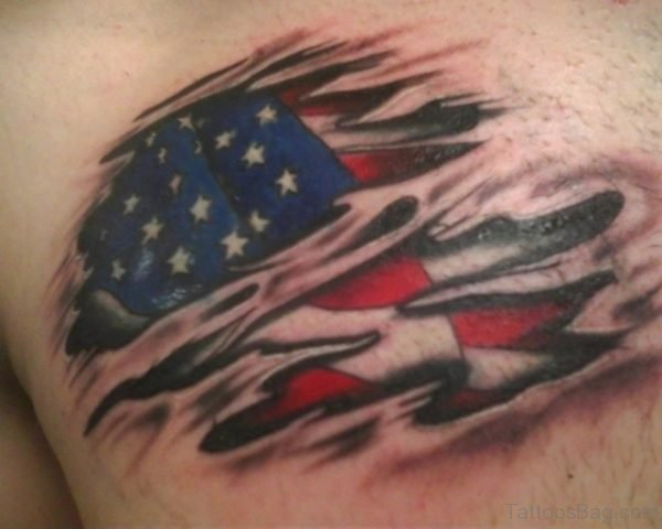 Banner And American Flag Tattoo