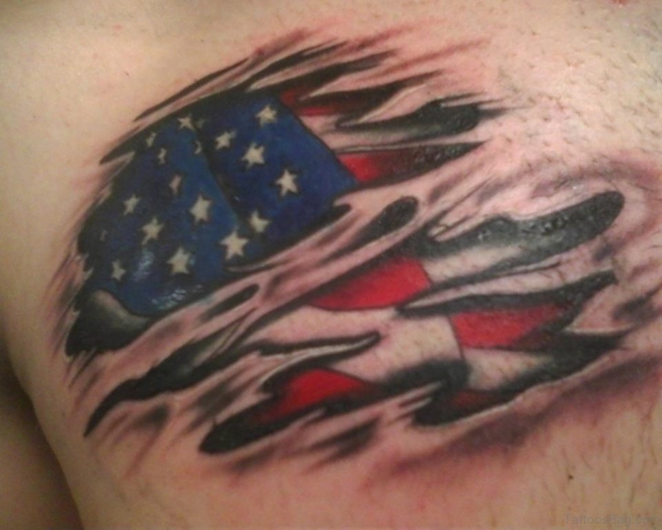 57 classic flag tattoos on chest. Black Bedroom Furniture Sets. Home Design Ideas