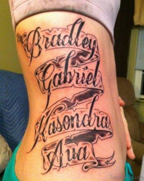 Banner Tattoo On Rib