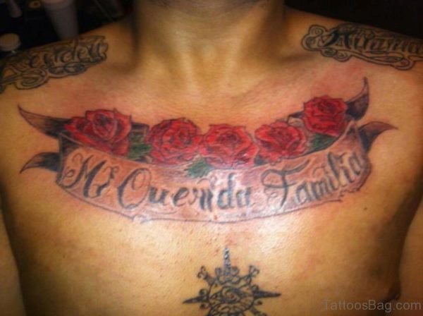 Banner Tattoo With Red Roses