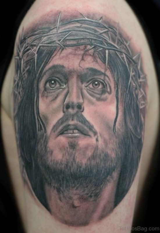 Barbed Jesus Head Tattoo On Shoulder