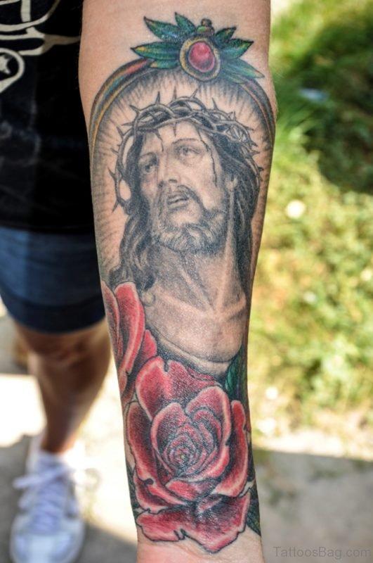 Barbed Jesus n Roses Tattoo On Arm