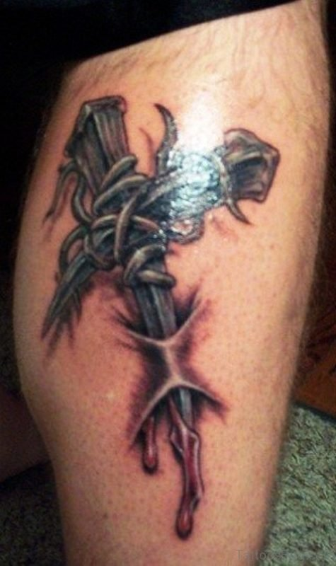 Barbed Wire With Cross Tattoo On Leg