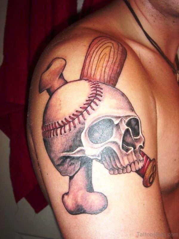 Baseball Skull Tattoo Design