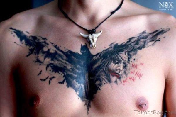 Bat Design Tattoo On Chest