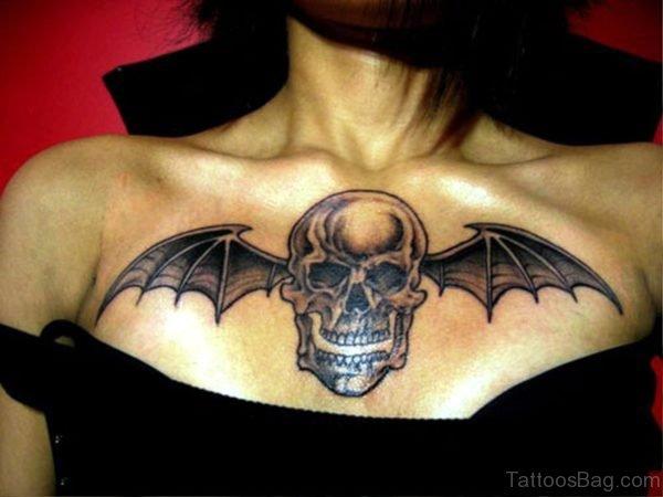 Bat Skull Tattoo On Chest