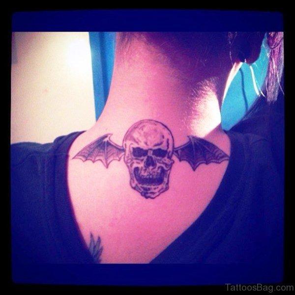 Bat Skull Tattoo On Neck