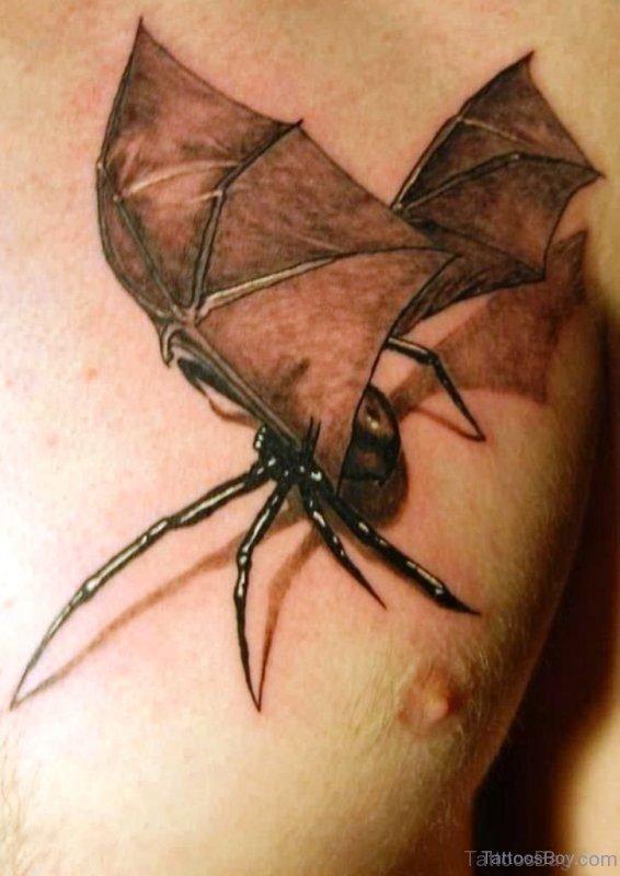 Bat Spider Tattoo On Chest
