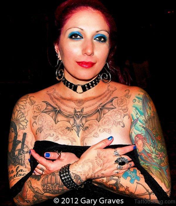 Bat Tattoo On Women Chest
