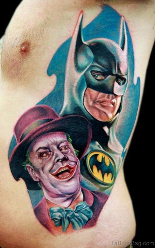 Batman And Joker Tattoo On Rib