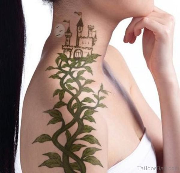 Bautiful Green Vine Tattoo On Neck