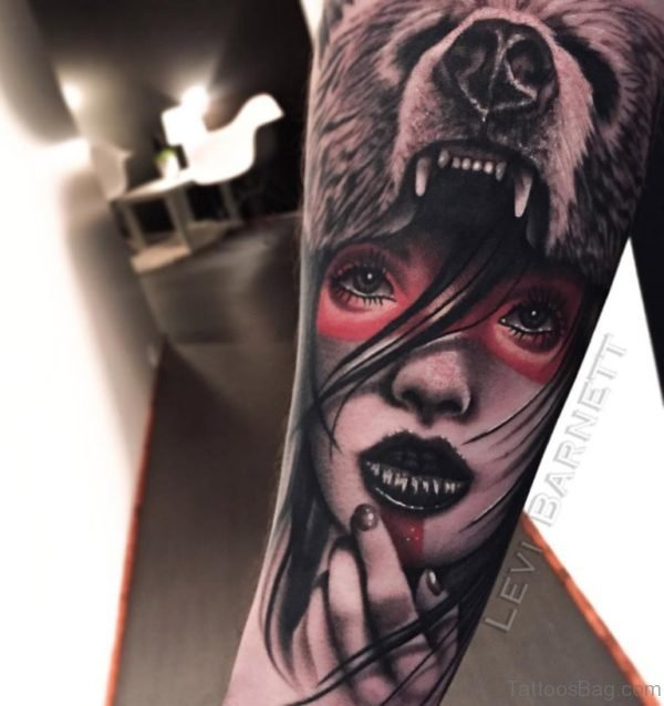 Bear And Girl Portrait Tattoo