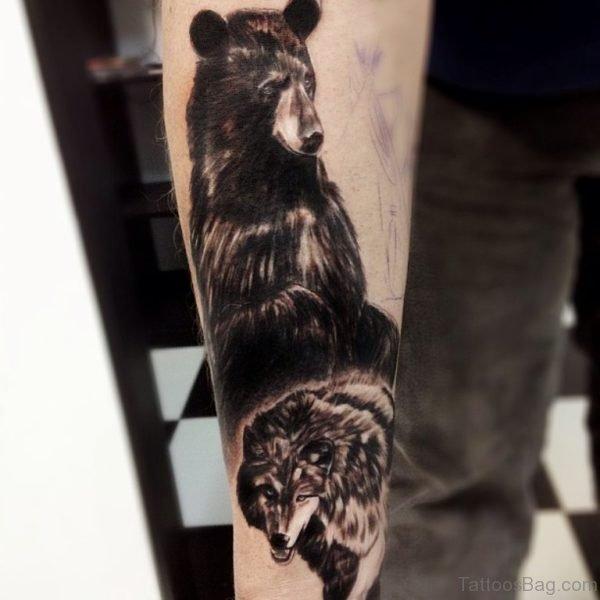 Bear And Wolf Tattoo