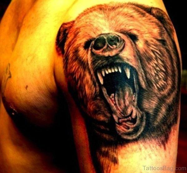 Bear Shoulder Half Sleeves Tattoo Design
