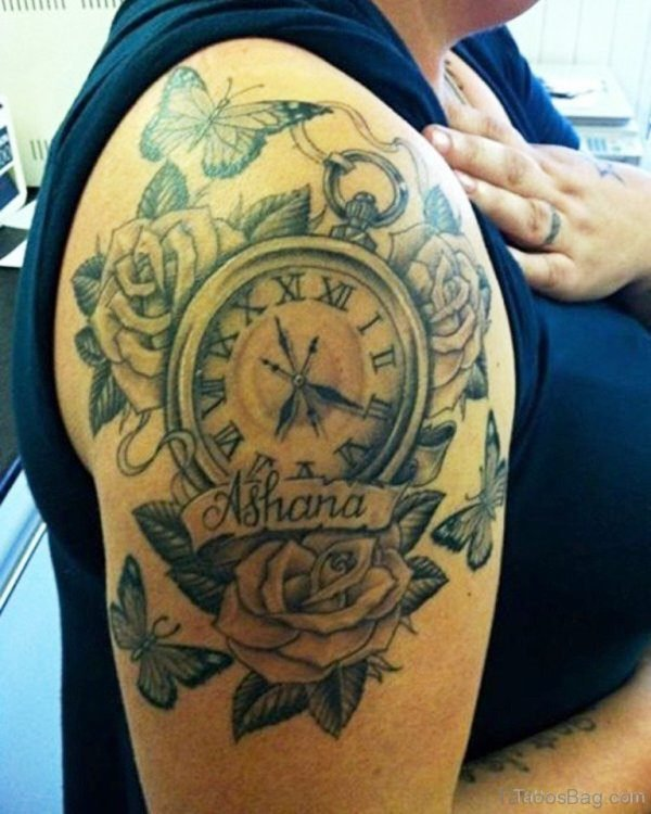 Beautiful Roses And Clock Tattoo
