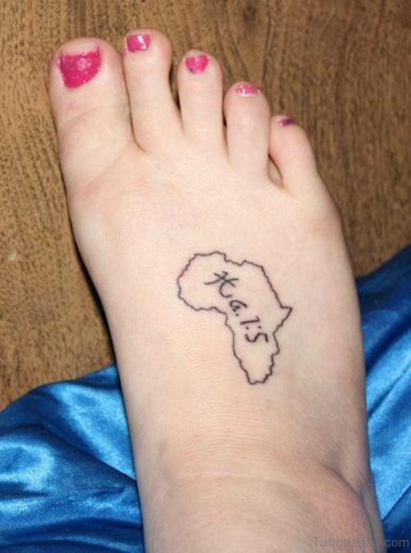 Beautiful African Map Tattoo On Right Foot