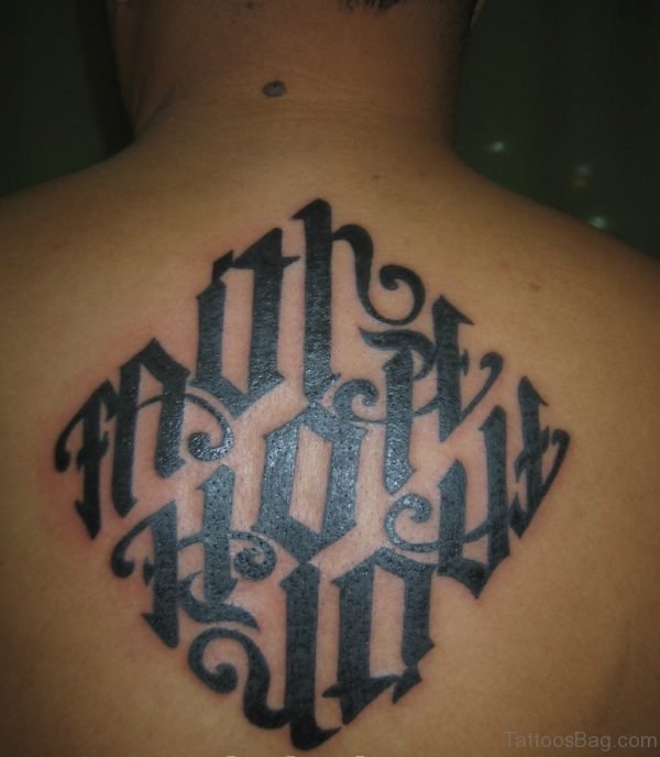 Beautiful Ambigram Tattoo On Back