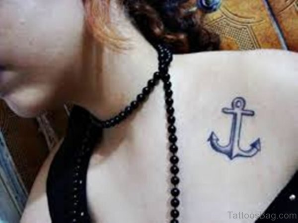 Beautiful Anchor Tattoo On Girl Shoulder
