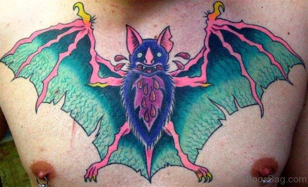 Beautiful Bat Tattoo On Chest