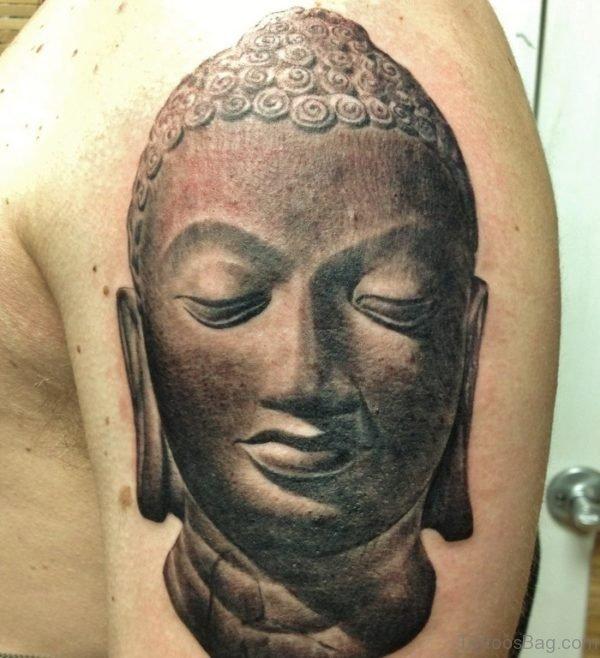 Beautiful Buddhist Tattoo Design On Shoulder