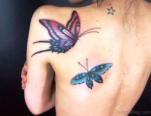 Beautiful Butterflies Shoulder Blade Tattoo