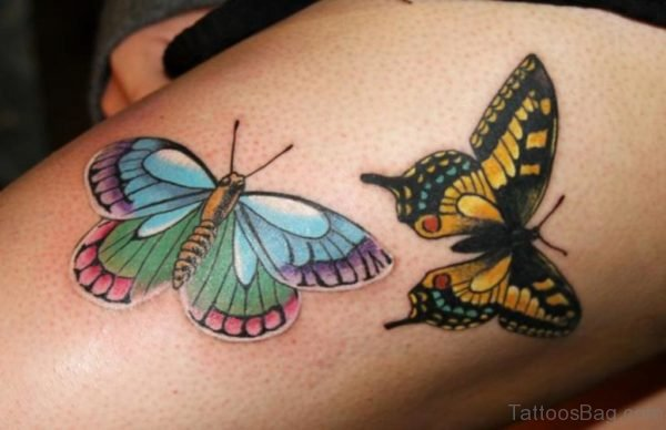 Beautiful Butterfly Tattoo On Thigh