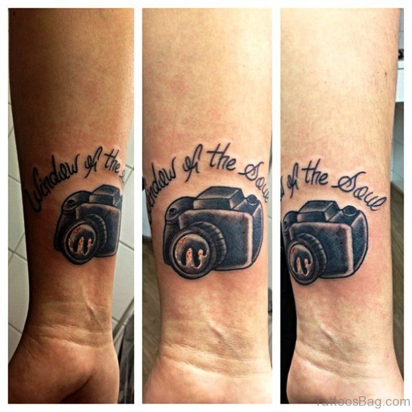 Beautiful Camera Wrist Tattoo
