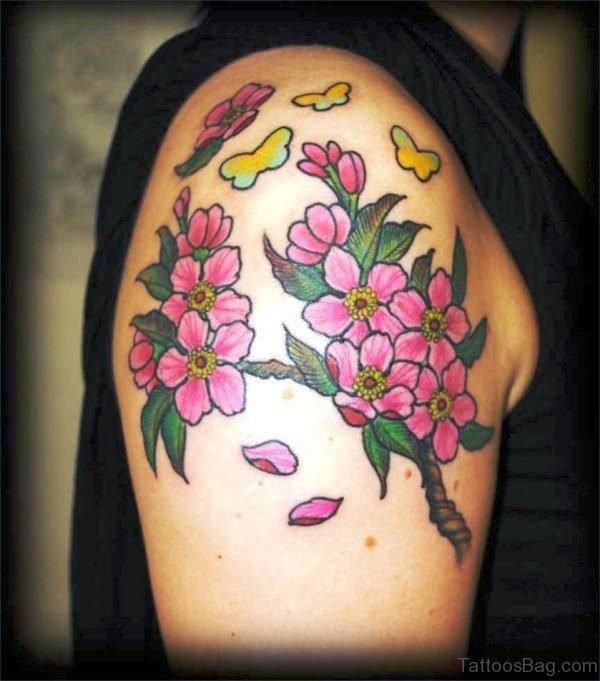 Beautiful Cherry Blossom Flowers Tattoo Design