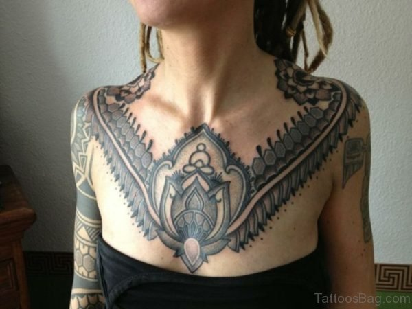 Beautiful Chest Mandala Tattoos for Women