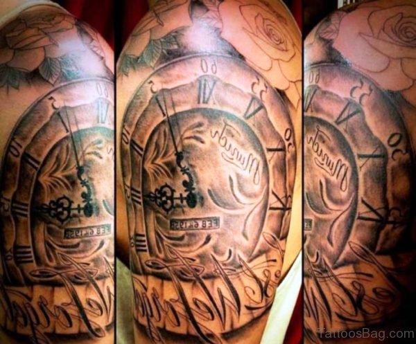 Beautiful Clock Designer Tattoo