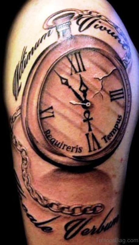 Beautiful Clock Tattoo On Right Shoulder