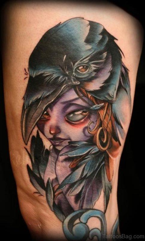 Beautiful Crow Raven Girl Tattoo