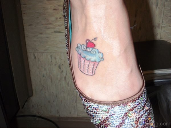 Beautiful Cupcake Tattoo On Foot