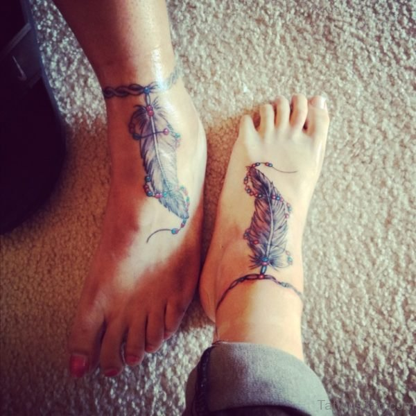 Beautiful Feather Tattoo On Ankle