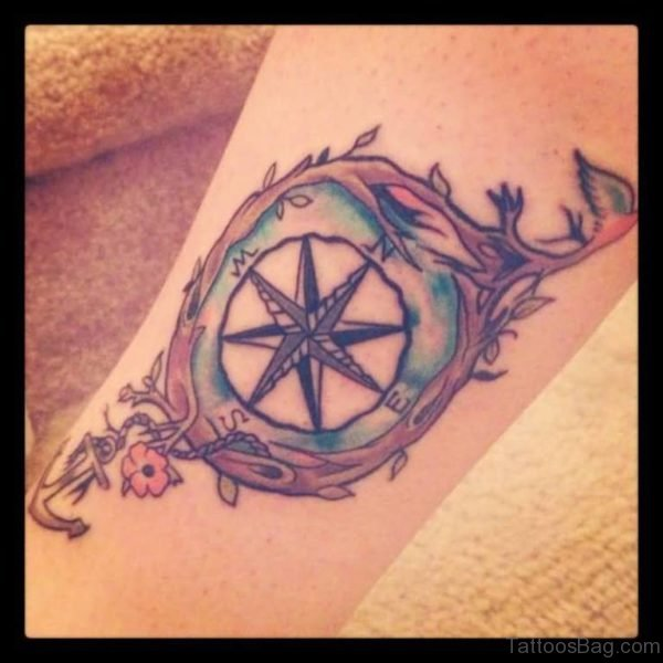 Beautiful Feminine Compass Tattoo On Leg