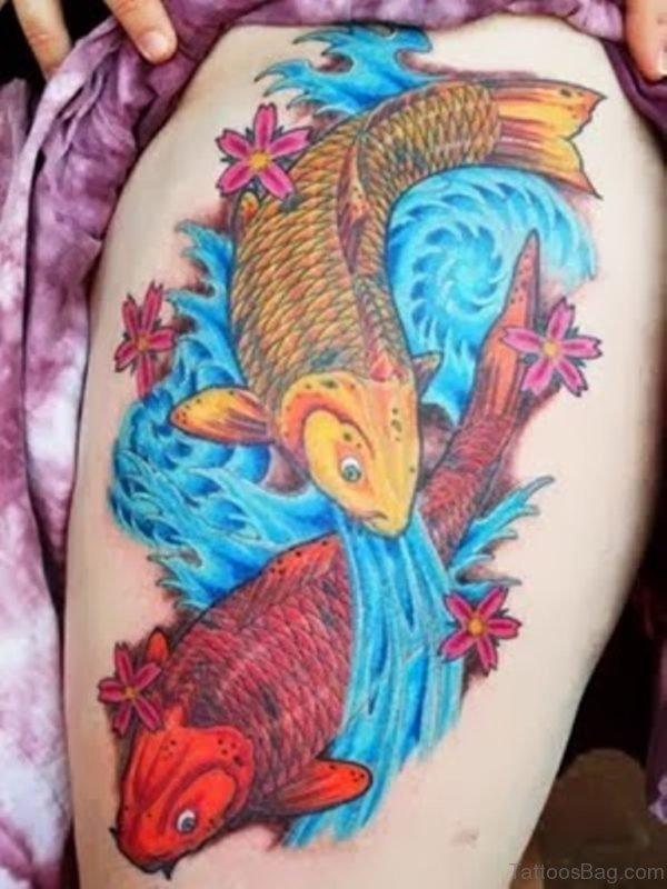 Beautiful Fish Tattoo On Thigh